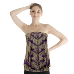Lace Landscape Abstract Shimmering Lovely In The Dark Strapless Top