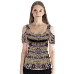 Lace Landscape Abstract Shimmering Lovely In The Dark Butterfly Sleeve Cutout Tee