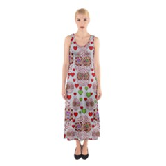 Love Bunnies In Peace And Popart Sleeveless Maxi Dress