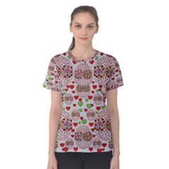 Love Bunnies In Peace And Popart Women s Cotton Tee