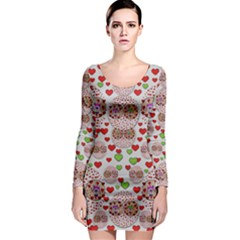 Love Bunnies In Peace And Popart Long Sleeve Bodycon Dress