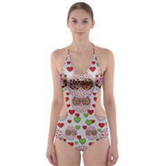 Love Bunnies In Peace And Popart Cut-Out One Piece Swimsuit