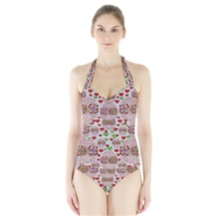 Love Bunnies In Peace And Popart Halter Swimsuit