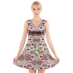 Love Bunnies In Peace And Popart V-Neck Sleeveless Skater Dress