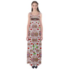 Love Bunnies In Peace And Popart Empire Waist Maxi Dress