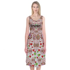 Love Bunnies In Peace And Popart Midi Sleeveless Dress
