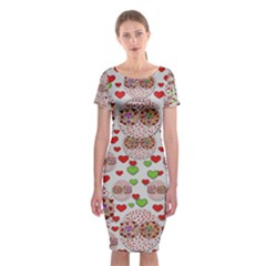 Love Bunnies In Peace And Popart Classic Short Sleeve Midi Dress