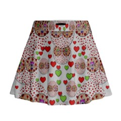 Love Bunnies In Peace And Popart Mini Flare Skirt