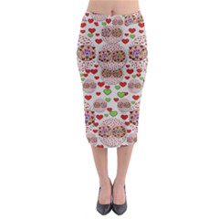 Love Bunnies In Peace And Popart Midi Pencil Skirt