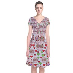 Love Bunnies In Peace And Popart Short Sleeve Front Wrap Dress