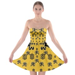 Disco Dancing In The  Tribal Nature  Strapless Dresses