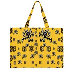 Disco Dancing In The  Tribal Nature  Zipper Large Tote Bag