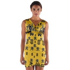 Disco Dancing In The  Tribal Nature  Wrap Front Bodycon Dress