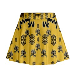 Disco Dancing In The  Tribal Nature  Mini Flare Skirt