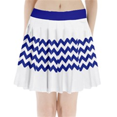 Navy Chevron Stripes Pleated Mini Skirt Pleated Mini Mesh Skirt