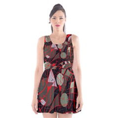 Artistic abstraction Scoop Neck Skater Dress