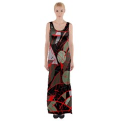 Artistic abstraction Maxi Thigh Split Dress