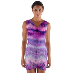 Tie Dye Color Wrap Front Bodycon Dress