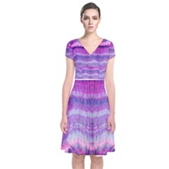 Tie Dye Color Short Sleeve Front Wrap Dress