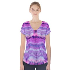 Tie Dye Color Short Sleeve Front Detail Top
