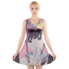 Sweet Boredom V Neck Sleeveless Skater Dress