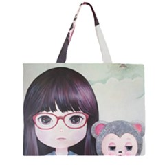 Close Encounter 4 Zipper Large Tote Bag