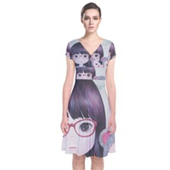 Close Encounter 4 Short Sleeve Front Wrap Dress