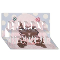 Gamergirl 3 Happy New Year 3d Greeting Card (8x4)