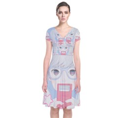Gamegirl Girl Play With Star Short Sleeve Front Wrap Dress