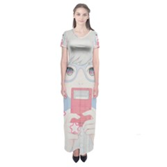 Gamegirl Girl Play with star Short Sleeve Maxi Dress