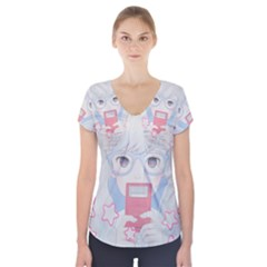 Gamegirl Girl Play with star Short Sleeve Front Detail Top