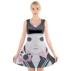 Smile Camare V Neck Sleeveless Skater Dress