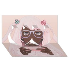 Gamergirl 3 P Twin Hearts 3D Greeting Card (8x4)