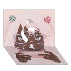 Gamergirl 3 P Ribbon 3D Greeting Card (7x5)