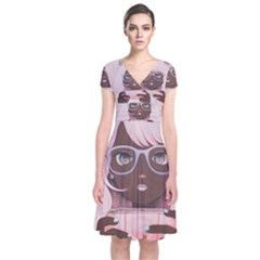 Gamergirl 3 P Short Sleeve Front Wrap Dress