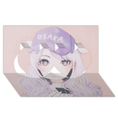 Ricehime Twin Hearts 3D Greeting Card (8x4)