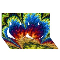 Amazing Special Fractal 25a Twin Hearts 3D Greeting Card (8x4)