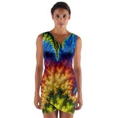Amazing Special Fractal 25a Wrap Front Bodycon Dress