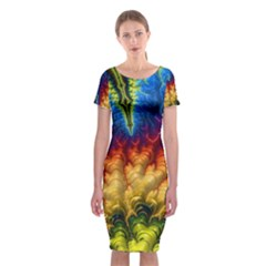 Amazing Special Fractal 25a Classic Short Sleeve Midi Dress