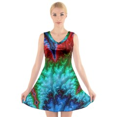 Amazing Special Fractal 25b V Neck Sleeveless Skater Dress