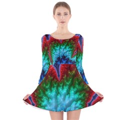 Amazing Special Fractal 25b Long Sleeve Velvet Skater Dress