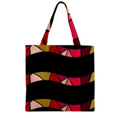 Abstract waves Zipper Grocery Tote Bag