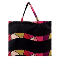 Abstract waves Zipper Large Tote Bag