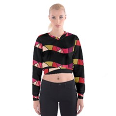 Abstract waves Women s Cropped Sweatshirt