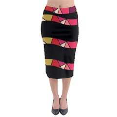 Abstract waves Midi Pencil Skirt