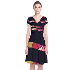 Abstract waves Short Sleeve Front Wrap Dress