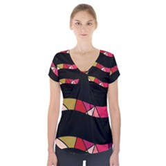 Abstract Waves Short Sleeve Front Detail Top