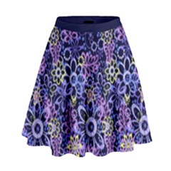 Night Flowers High Waist Skirt