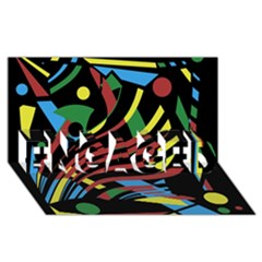 Optimistic abstraction ENGAGED 3D Greeting Card (8x4)