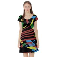 Optimistic abstraction Short Sleeve Skater Dress
